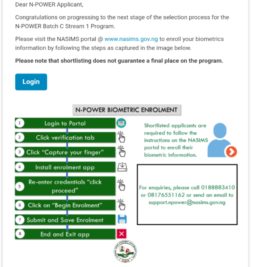 NASIMS SHOTLIST: Physical Verification Exercise for Batch C Stream 1 Applicants – See Requirements