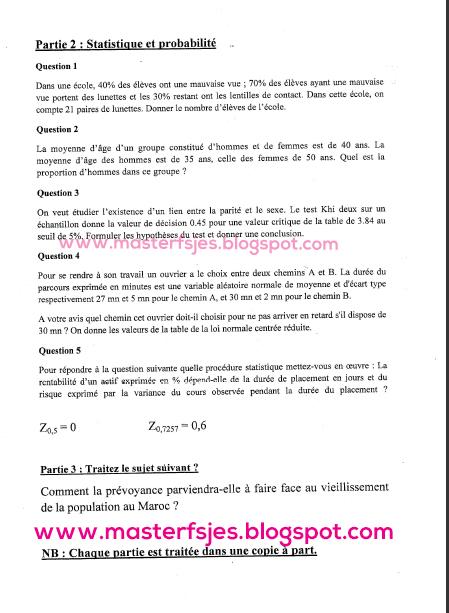 Concours d'accès au Master Actuariat et Prévoyance