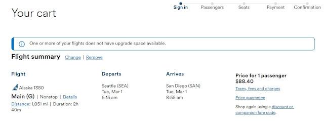 Alaska Airlines Fare Classes