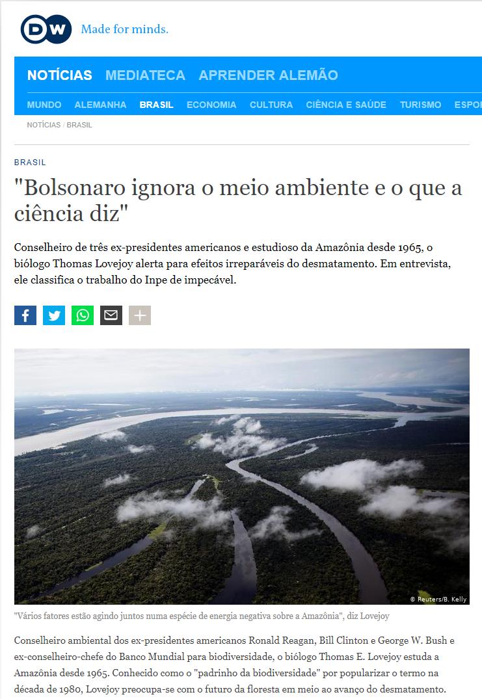 Thomas E. Lovejoy biólogo sobre desmatamento da Amazônia e na Floresta Amazônica para Deutsche Welle por Cristian Edel Weiss Amazon deforestation