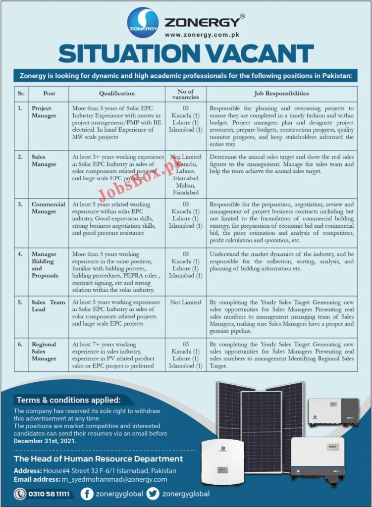 Zonergy Company Limited Jobs 2021 Apply Online – www.zonergy.com.pk