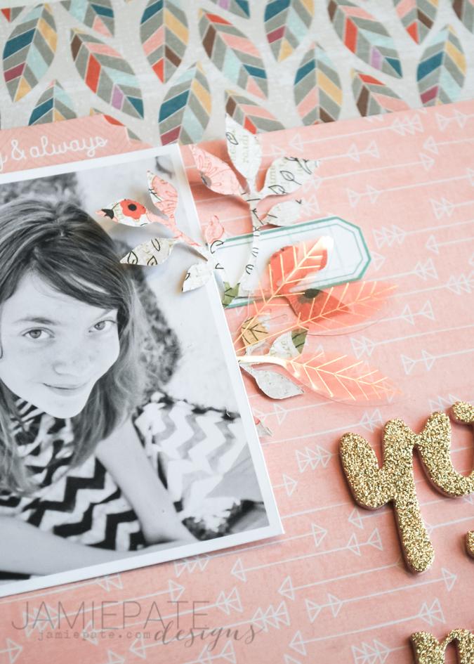 You & Me scrapbook page created using Pink Paislee Cedar Lane. @jamiepate