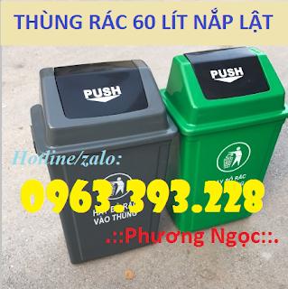 Thùng rác nhựa HDPE 60L, thùng rác nắp bập bênh, thùng rác nắp lật