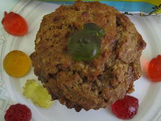 Dessus d'un muffins allégé en sucres aux pépites de bonbons Haribo Fruitilicious