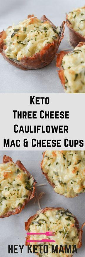 EASY KETO THREE CHEESE CAULIFLOWER MAC AND CHEESE CUPS