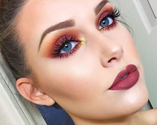 Maquillaje para ojos azules con sombras naranjas