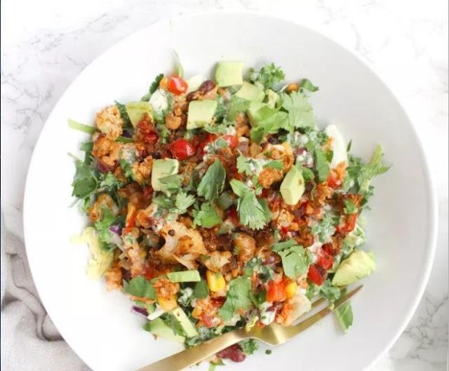 Cauliflower Taco Bowls with Creamy Vegan Cilantro Ranch #vegan #dinner