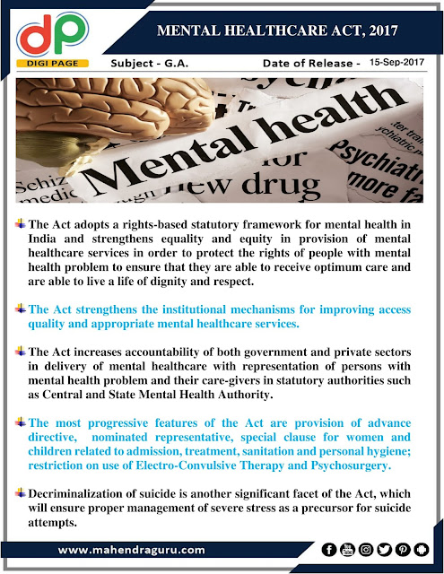 DP | Mental Healthcare Act, 2017 | 15 - Sep - 2017