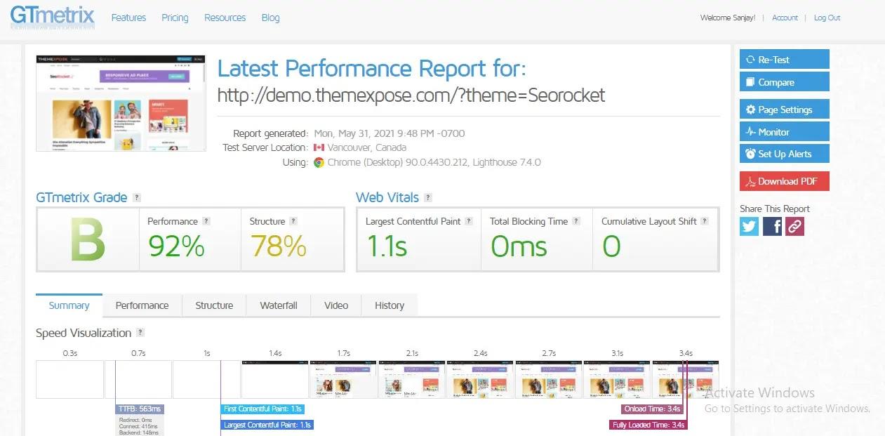 SEO Rocket Blogger Premium Template web-speed test