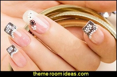 lace nail art stickers  nail art - lace themed nails - Lace Nail Stickers - lace nail wraps - cute nails - nail art design ideas - themed nail decals - cute nail decals - cute nail stickers -