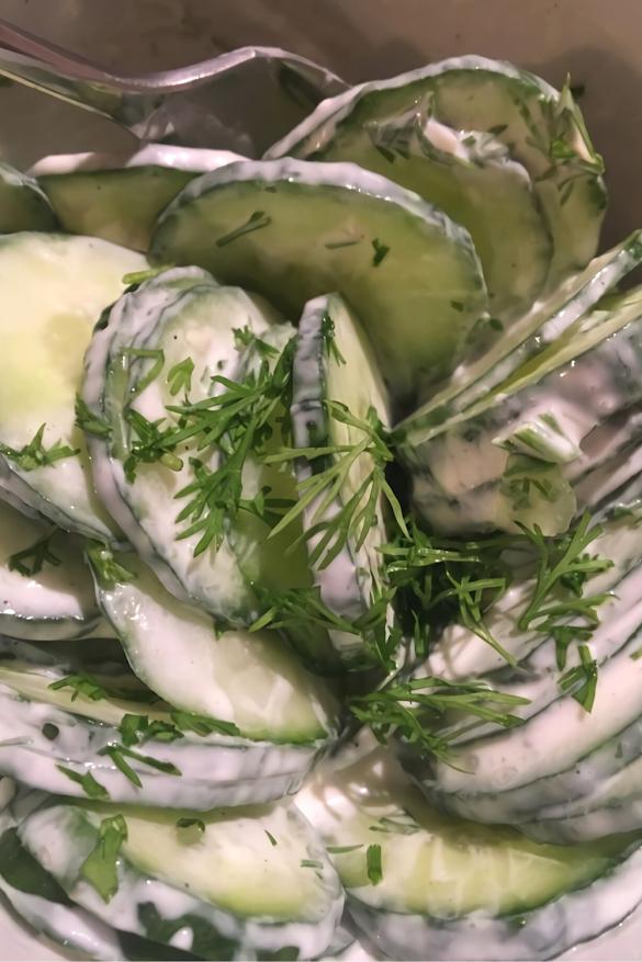 Super Simple Creamy German Cucumber Salad - Gurkensalat