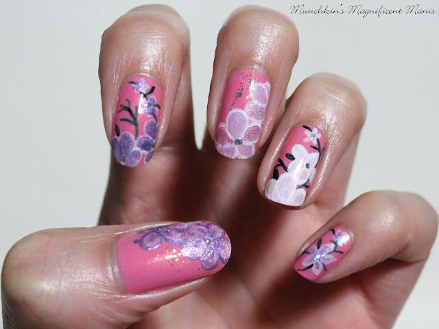 Spring flower nail design