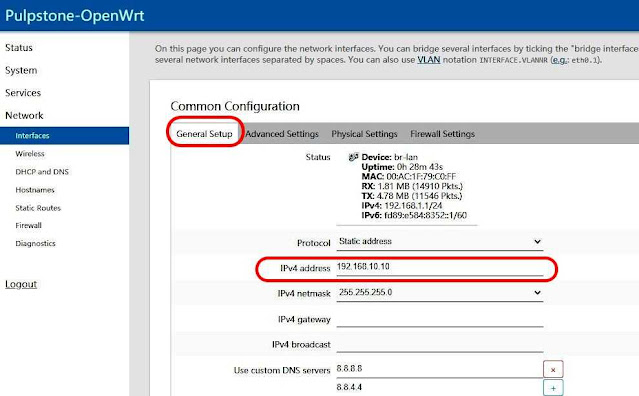 bedakan ip address router openwrt