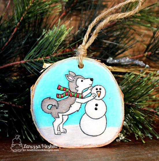 Winter Husky Dog Ornament by Larissa Heskett | Winter Woofs Dog Stamp set by Newton's Nook Designs #newtonsnook