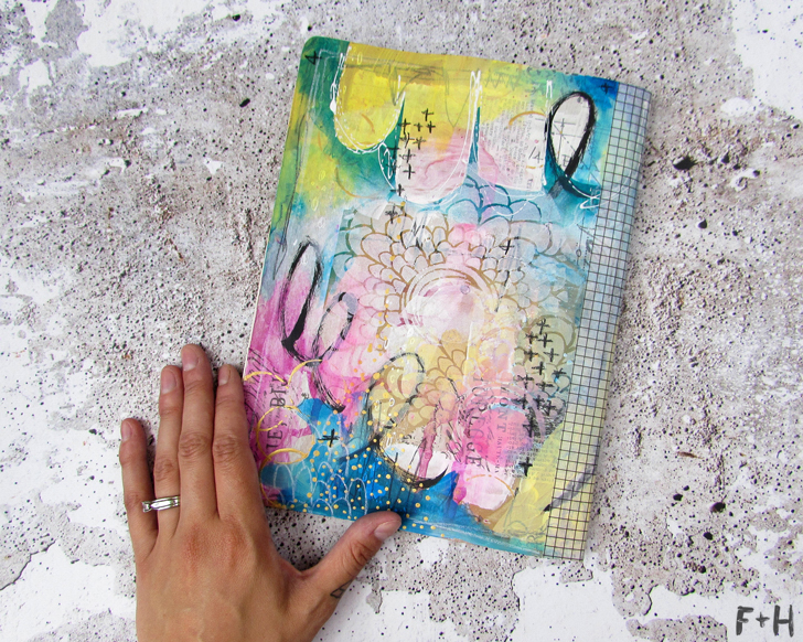 diy painted moleskine notebook art journal cover
