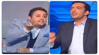 بالفيديو عرك و شتم و تبادل تهم على المباشر بين ياسين العياري و طارق الكحلاوي.....