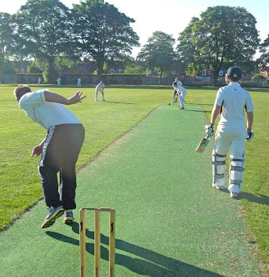 Action from a previous Briggensians Association  Youth v Experience cricket match at Sir John Nelthorpe School, Brigg - played in wonderful summer weather
