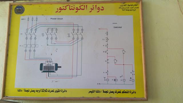 دائرة التحكم والقوي لمحرك 3 اوجه  يعمل نجمة دلتا- تدريب المقاولون العرب كنترول