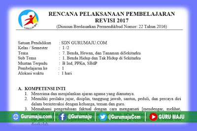 RPP Kelas 1 Tema 7 Kurikulum 2013 Revisi Tahun 2019