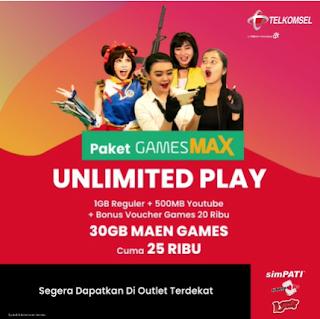 Cara Beli Paket GameMax Telkomsel 32GB Harga Rp:25.000