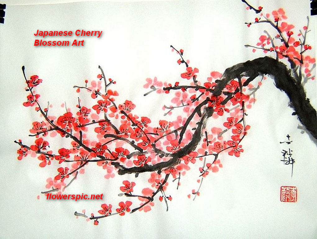 Image gallery japanese tree art for Cherry blossom mural works