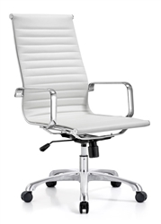White Leather Ribbed Back Office Chair