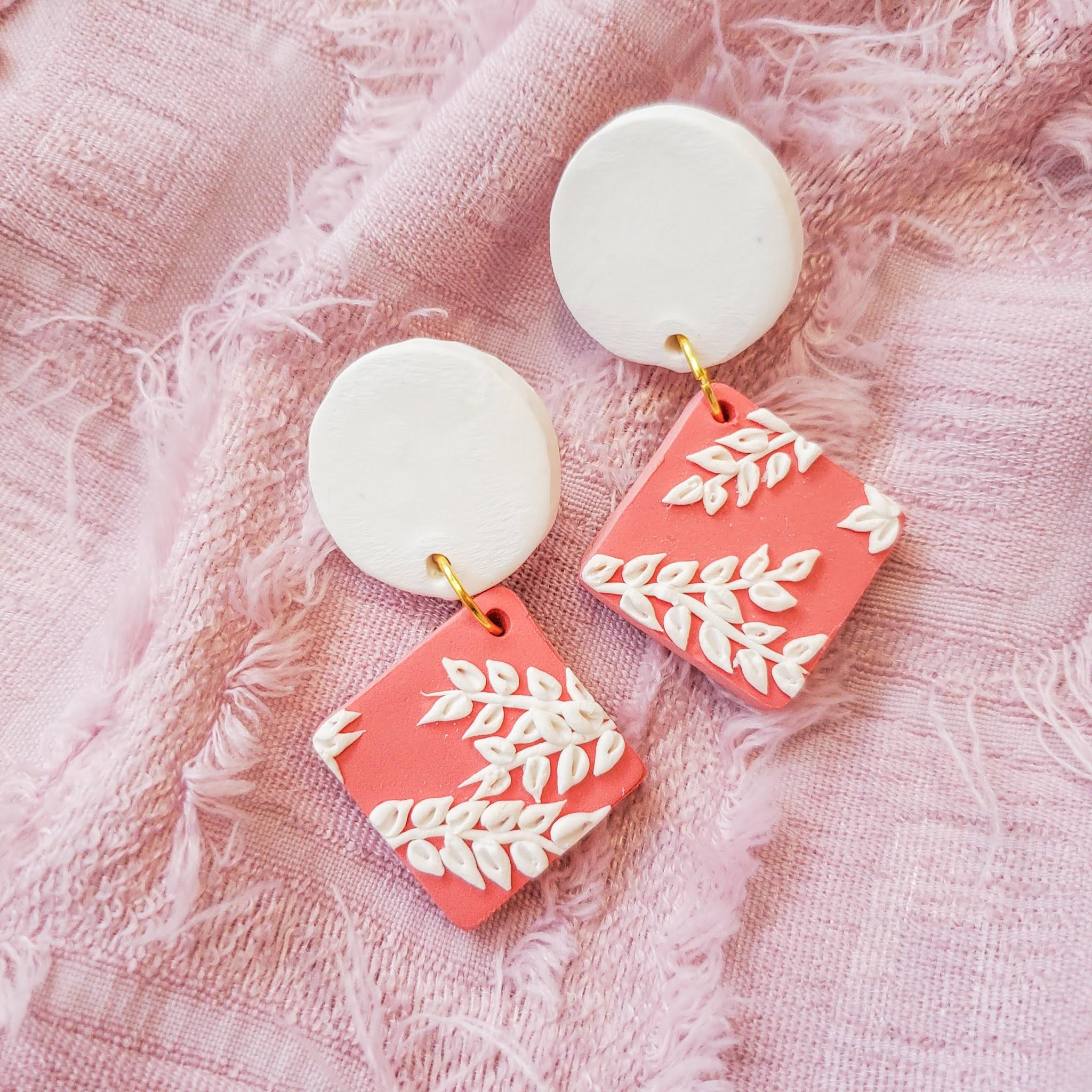 Handmade polymer clay statement earrings - talia drops