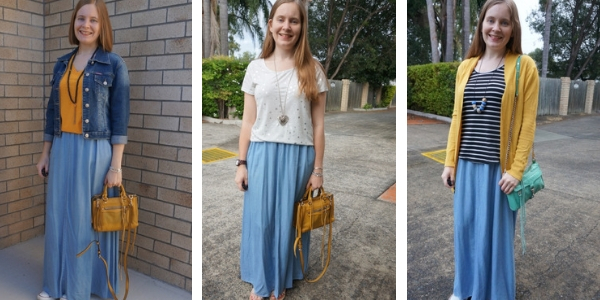 3 outfit ideas with yellow and chambray maxi skirt | away from blue