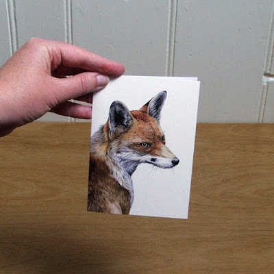 Watercolour fox greetings card