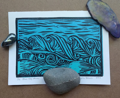 Blue Sky Wave linocut art card