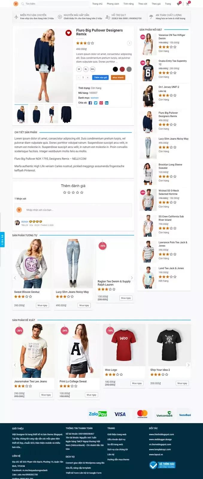 Trang bài viết sản phẩm giao diện website bán hang blogspot