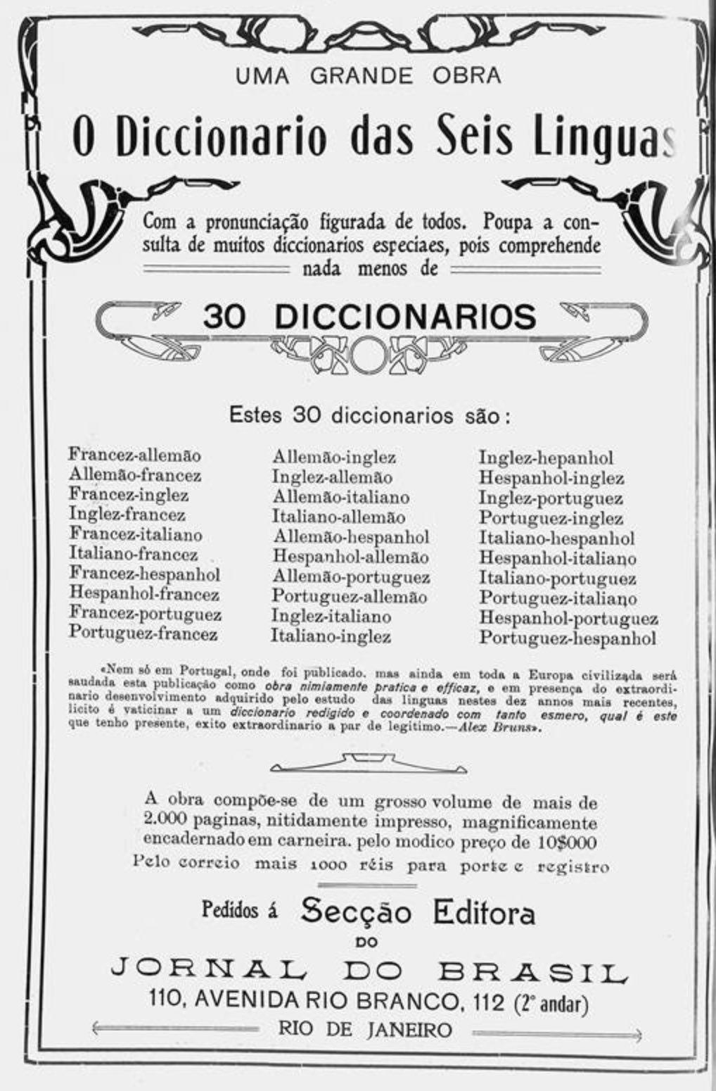 Anúncio de 1914 promovendo um dicionário com traduções para vários idiomas