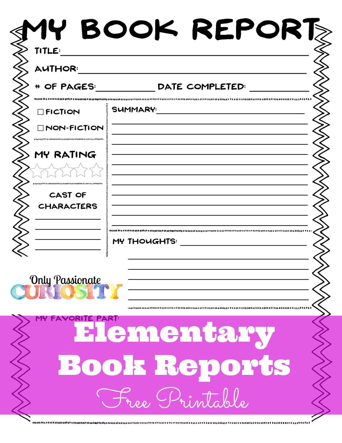 Example Of Fourth Grade Book Report
