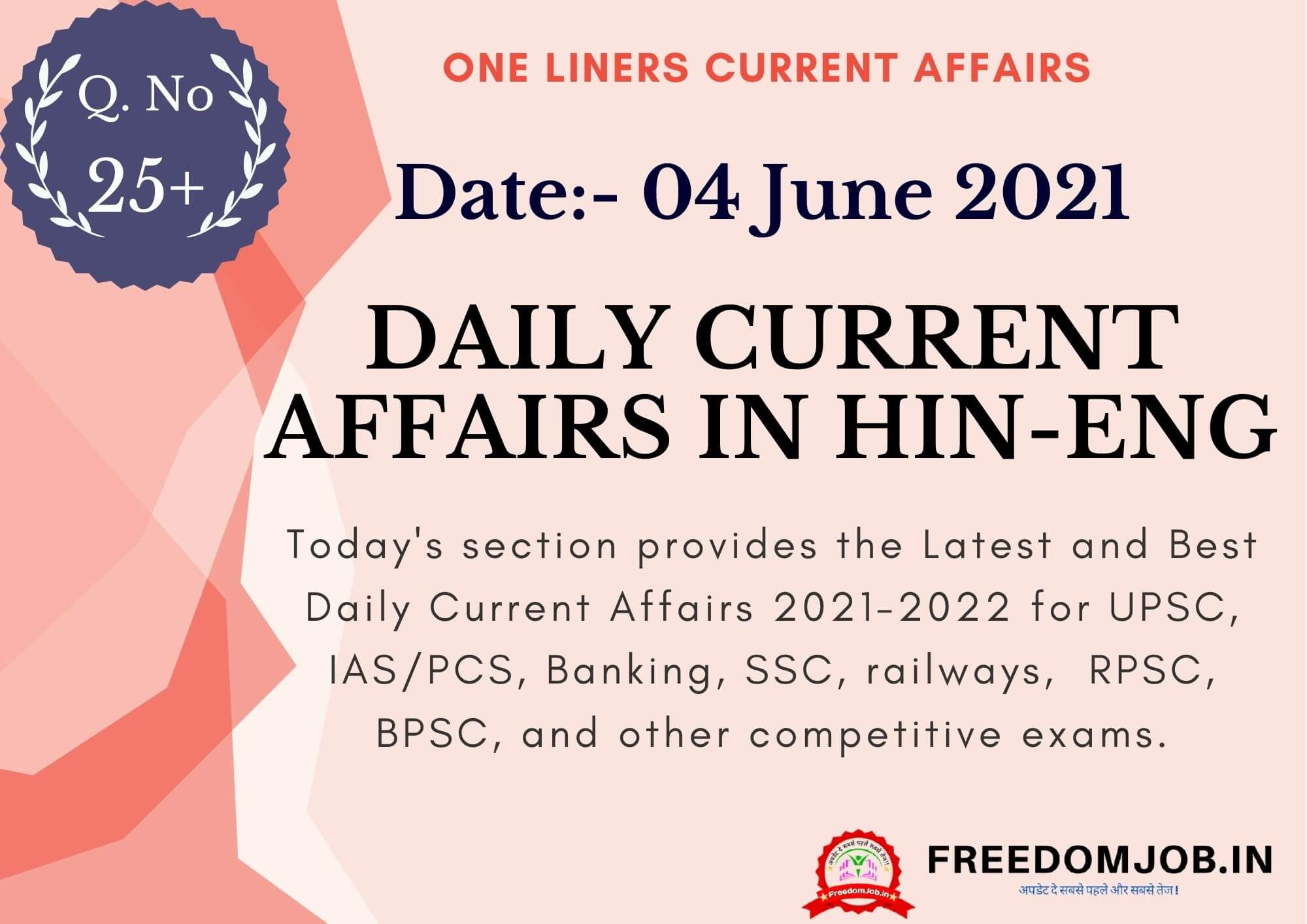 Daily Current Affairs in Hindi English