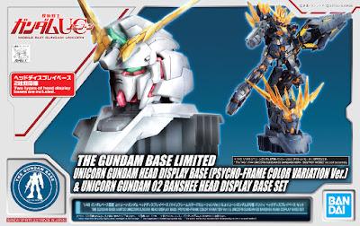 1/48 RX-0 Unicorn Gundam & Banshee Head Display Base CPsycho Frame Color Variation Ver.) Official Images