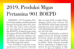 2019, Pertamina Oil and Gas Production 901 BOEPD