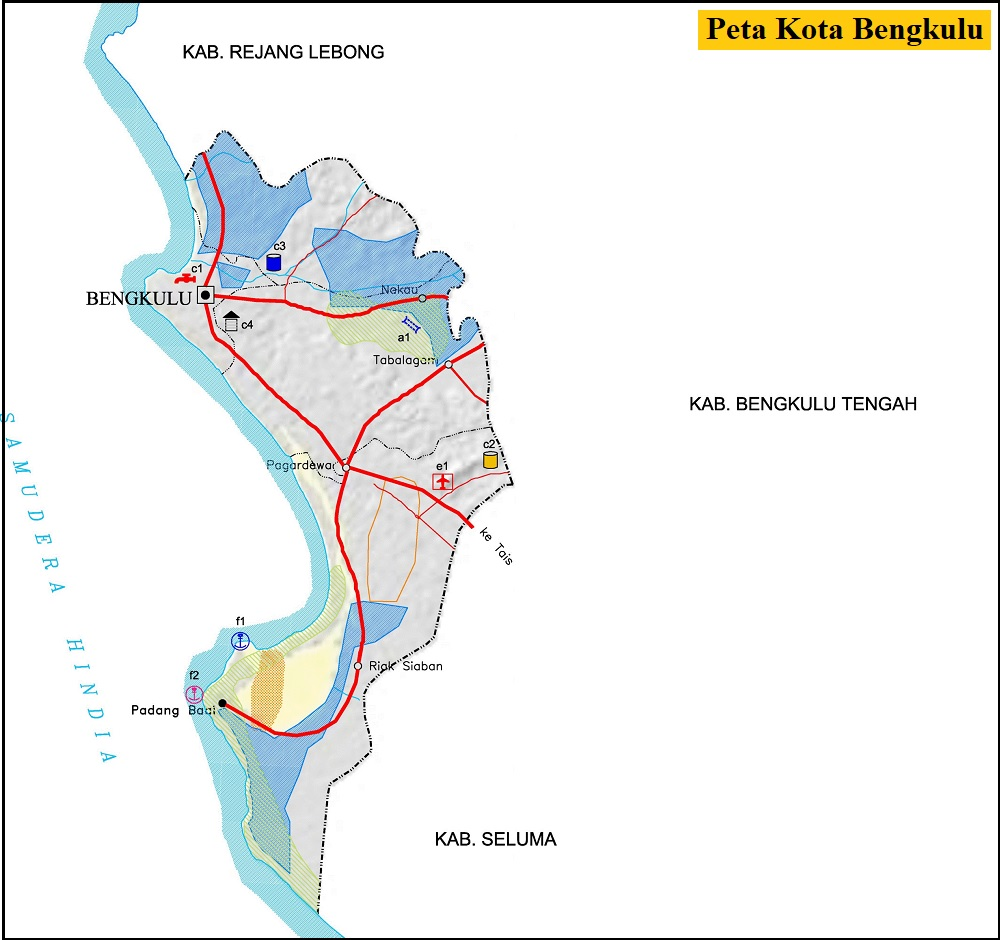 Peta Kota Bengkulu HD Terbaru