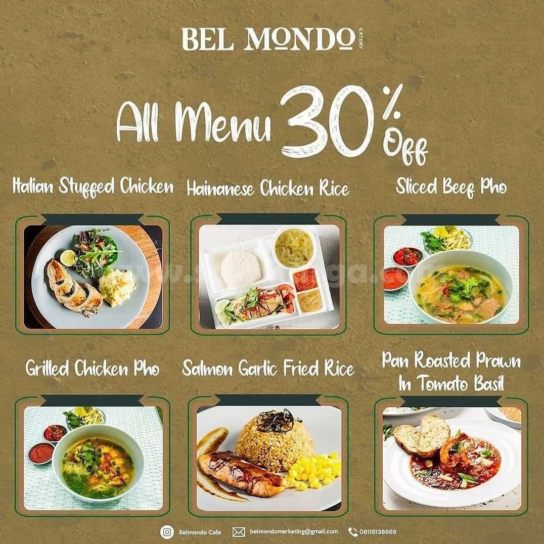 Promo Belmondo Cafe Discount 30% All Menu