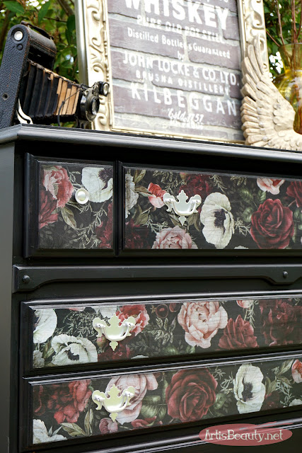 redesign by prima vintage floral color transfer romantic dresser makeover general finishes lamp black
