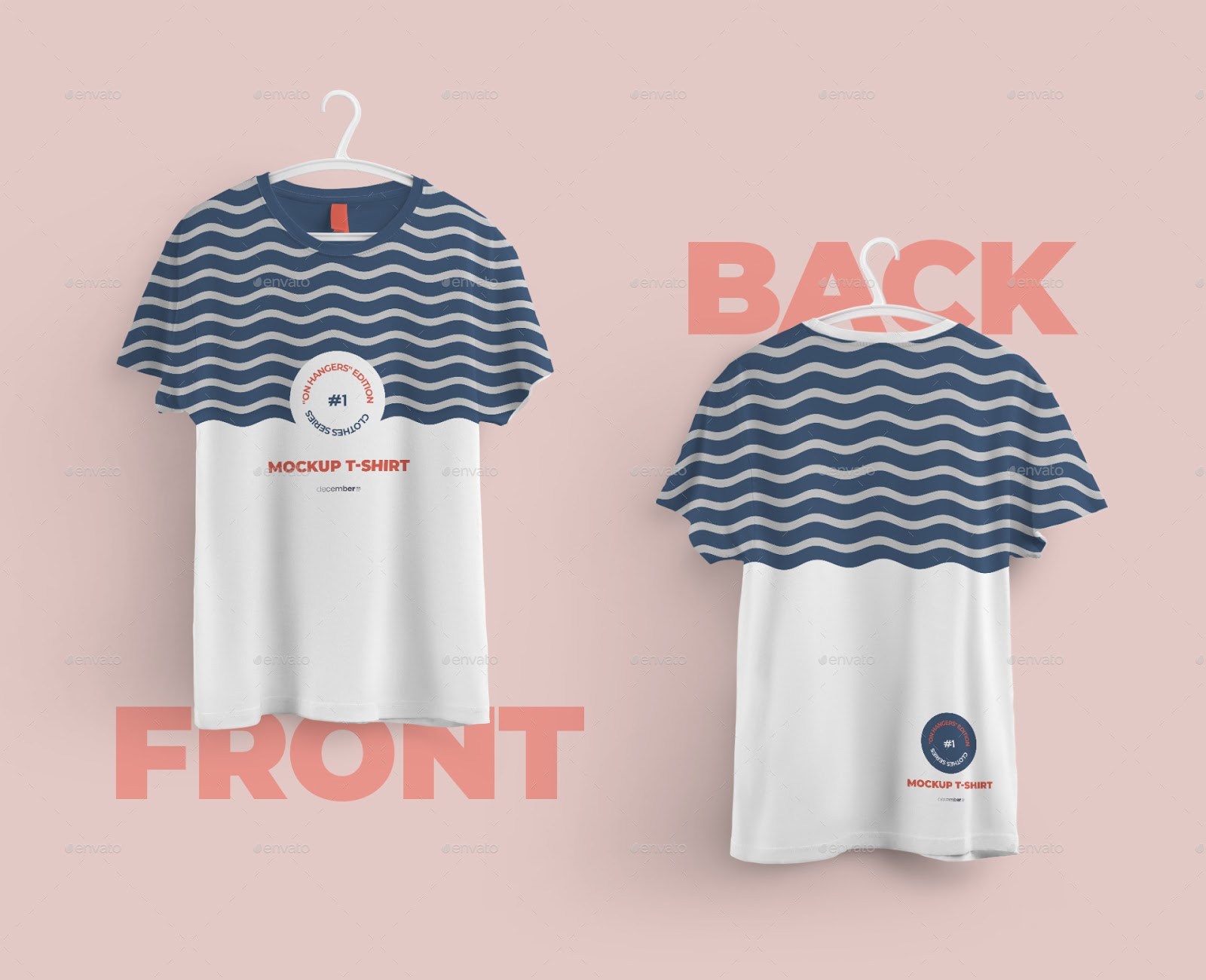 Front and Back T-shirts Mockups With 6 Different Hangers (PSD) - Ngcloudy.com