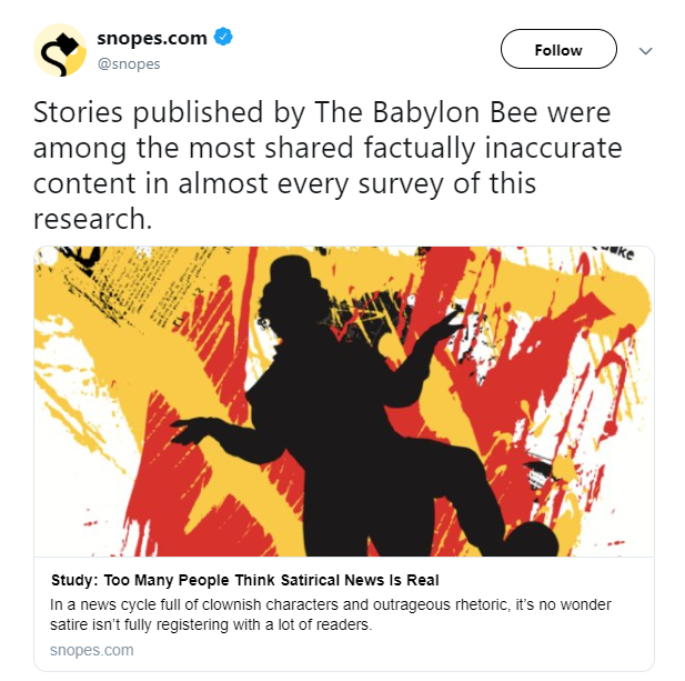 The Hagerstown Report Snopes Is Fact Checking Satire For Satire