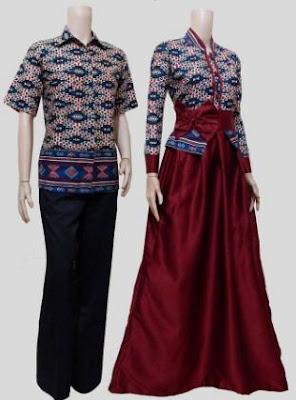contoh baju batik muslim kombinasi