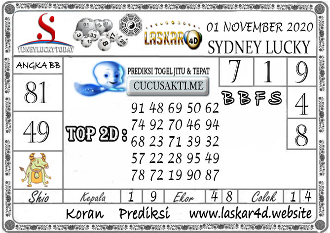 Prediksi Sydney Lucky Today LASKAR4D 01 NOVEMBER 2020