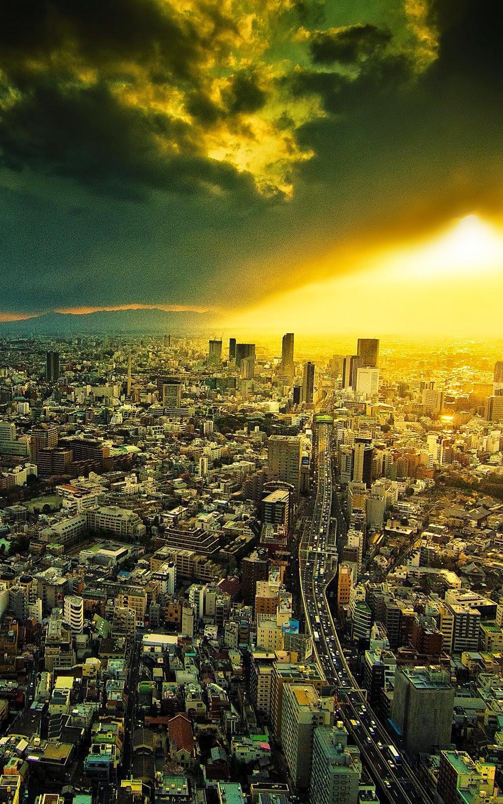 Susana Pemandangan Sunset Di Kota Android Wallpaper Arsitektur