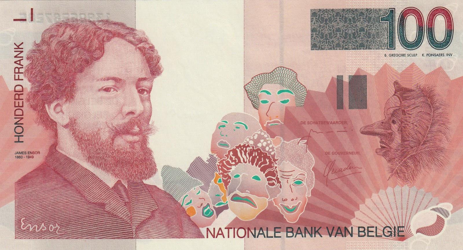Belgium Banknotes 100 Belgian Francs banknote 1995 James Ensor