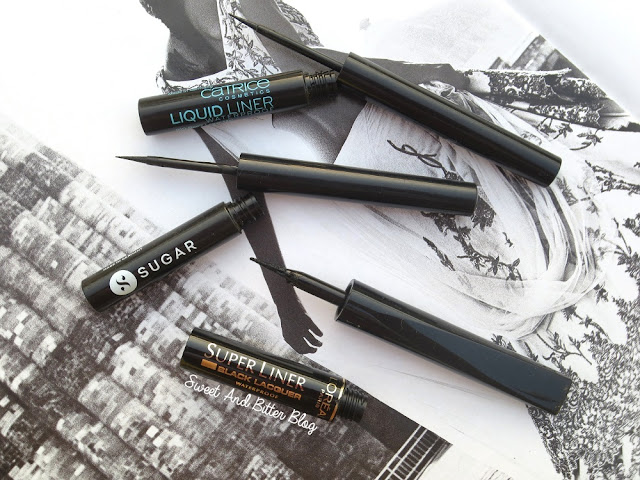 Catrice Cosmetics Liquid Liner Waterproof in 010 Don't Leave Me, Sugar Eye Told You So! Waterproof Eyeliner 01 Black Swan, L'Oréal Paris Super Liner Black Lacquer Waterproof