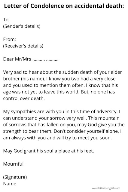 Letter of Condolence on accidental death