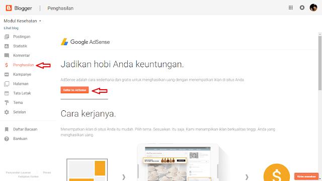 Cara Mendaftar ke Google AdSense melalui Blogger, Cara Daftar AdSense di Blogspot, Cara Daftar AdSense di Blog