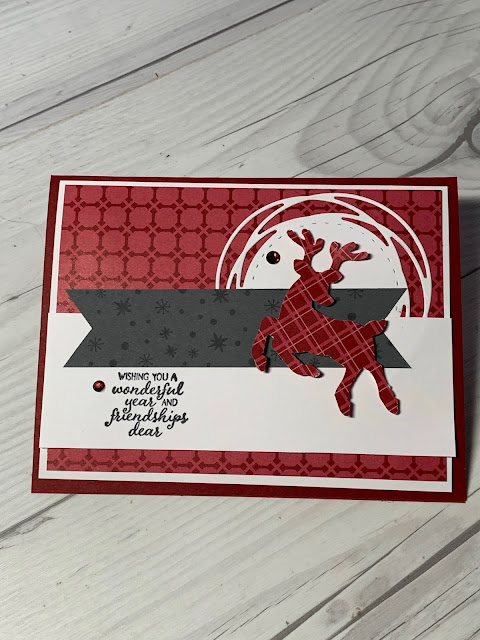 Handmade Christmas Card with a prancing deer from the Stampin' Up! Peaceful Deer Bundle
