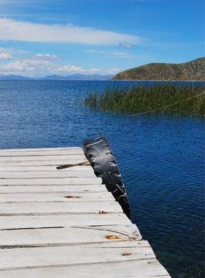 Foto a la vista del Lago Titicaca en la Isla del Sol